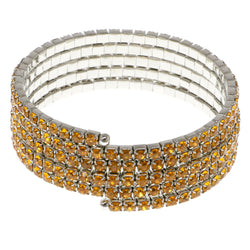 Yellow & Silver-Tone Colored Metal Rhinestone-Coil-Bracelet With Crystal Accents #4352