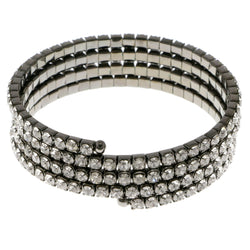 Dark-Silver-Tone Metal Rhinestone-Coil-Bracelet With Crystal Accents #4338