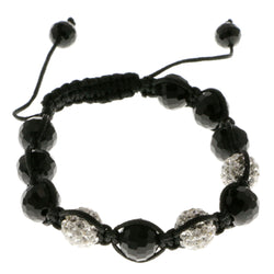Black & White Colored Acrylic Shamballa-Bracelet With Crystal Accents #3815