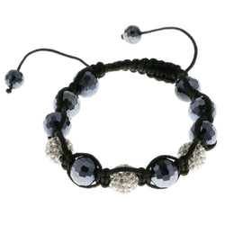 Blue & White Colored Metal Shamballa-Bracelet With Crystal Accents #3807