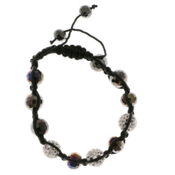 Black & White Colored Acrylic Shamballa-Bracelet With Crystal Accents #3813