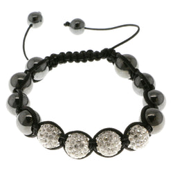 Black & White Colored Metal Shamballa-Bracelet With Crystal Accents #3805