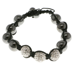 Black & White Colored Metal Shamballa-Bracelet With Crystal Accents #3812