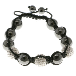 Black & White Colored Metal Shamballa-Bracelet With Crystal Accents #3808
