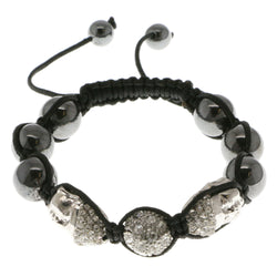 Buddha Shamballa-Bracelet With Crystal Accents Silver-Tone & Black Colored #3810