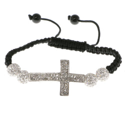 Cross Shamballa-Bracelet With Crystal Accents  Silver-Tone Color #3804