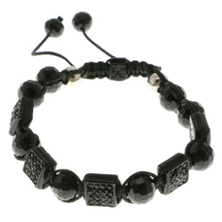 Black & Silver-Tone Colored Acrylic Shamballa-Bracelet With Crystal Accents #3801