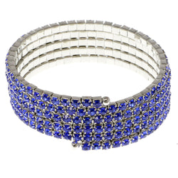 Blue & Silver-Tone Colored Metal Rhinestone-Coil-Bracelet With Crystal Accents #4351