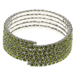 Green & Silver-Tone Colored Metal Rhinestone-Coil-Bracelet With Crystal Accents #4351