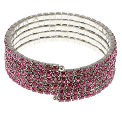 Pink & Silver-Tone Colored Metal Rhinestone-Coil-Bracelet With Crystal Accents #4351