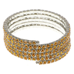 Yellow & Silver-Tone Colored Metal Rhinestone-Coil-Bracelet With Crystal Accents #4351