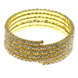 Gold-Tone Metal Rhinestone-Coil-Bracelet With Crystal Accents #4346
