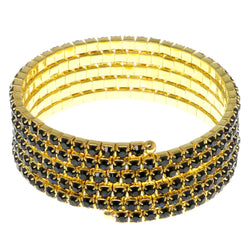 Blue & Gold-Tone Colored Metal Rhinestone-Coil-Bracelet With Crystal Accents #4355