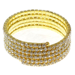 Gold-Tone Metal Rhinestone-Coil-Bracelet With Crystal Accents #4355