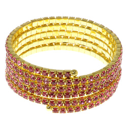 Pink & Gold-Tone Colored Metal Rhinestone-Coil-Bracelet With Crystal Accents #4355
