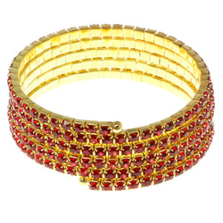 Red & Gold-Tone Colored Metal Rhinestone-Coil-Bracelet With Crystal Accents #4355