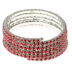 Red & Silver-Tone Colored Metal Rhinestone-Coil-Bracelet With Crystal Accents #4357