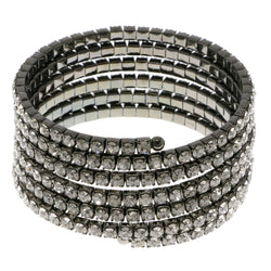 Dark-Silver-Tone Metal Rhinestone-Coil-Bracelet With Crystal Accents #4345