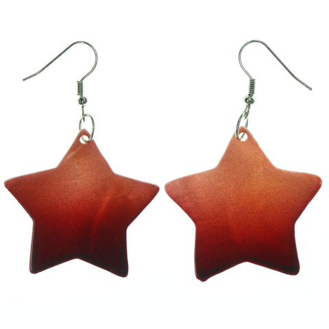 Shell Star Ombre Dangle-Earrings Red & Black Colored #LQE1224