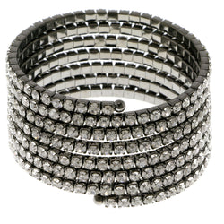 Dark-Silver-Tone Metal Rhinestone-Coil-Bracelet With Crystal Accents #4347