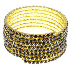 Blue & Gold-Tone Colored Metal Rhinestone-Coil-Bracelet With Crystal Accents #4353