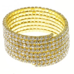 Gold-Tone Metal Rhinestone-Coil-Bracelet With Crystal Accents #4353