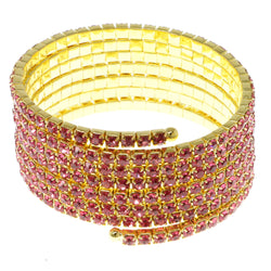Pink & Gold-Tone Colored Metal Rhinestone-Coil-Bracelet With Crystal Accents #4353