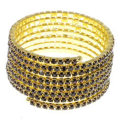 Purple & Gold-Tone Colored Metal Rhinestone-Coil-Bracelet With Crystal Accents #4353