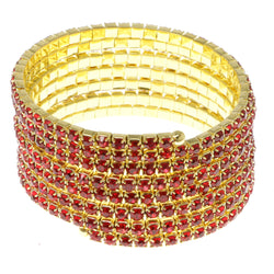 Red & Gold-Tone Colored Metal Rhinestone-Coil-Bracelet With Crystal Accents #4353