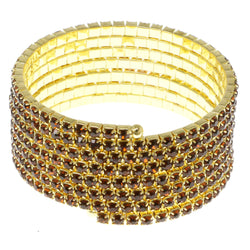 Brown & Gold-Tone Colored Metal Rhinestone-Coil-Bracelet With Crystal Accents #4353