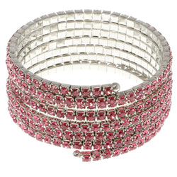 Pink & Silver-Tone Colored Metal Rhinestone-Coil-Bracelet With Crystal Accents #4354