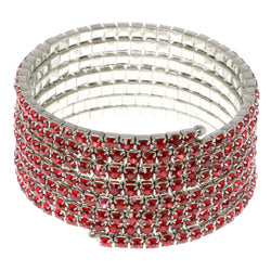 Red & Silver-Tone Colored Metal Rhinestone-Coil-Bracelet With Crystal Accents #4354