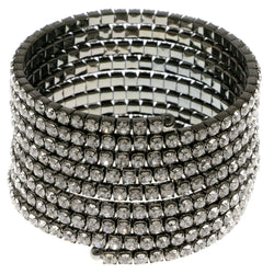 Dark-Silver-Tone Metal Rhinestone-Coil-Bracelet With Crystal Accents #4348