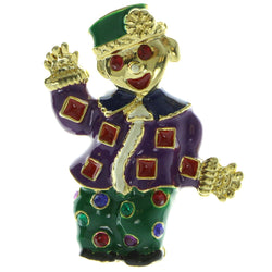 Clown Brooch-Pin With Colorful Accents Gold-Tone Green & Purple Colored #LQP287