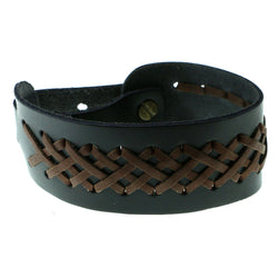 Black & Brown Colored Synthetic-Fiber Mens-Bracelet #3233
