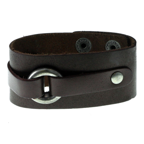 Brown & Silver-Tone Colored Synthetic-Fiber Mens-Bracelet #3239