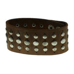 Studded Adjustable Mens-Bracelet Brown & Silver-Tone Colored #3226