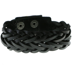 Black Synthetic-Fiber Mens-Bracelet #3240