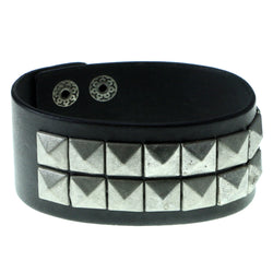 Pyramid Studded Mens-Bracelet Black & Silver-Tone Colored #3228