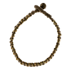 Black & Gold-Tone Colored Metal Beaded-Bracelet #4179
