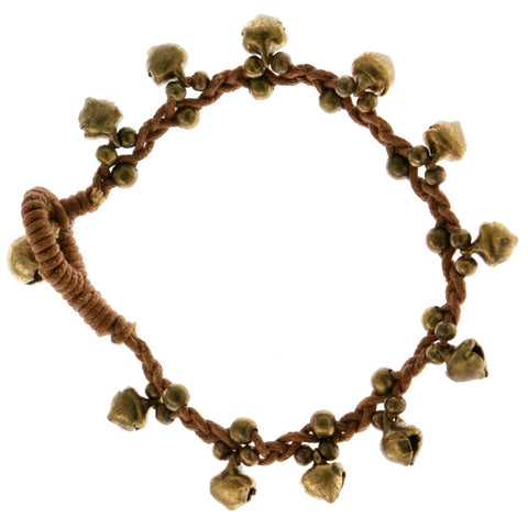 Acorn Cord-Bracelet Brown & Gold-Tone Colored #4171