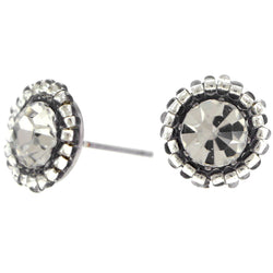 Silver-Tone Circle Shaped Stud Earrings AEE2