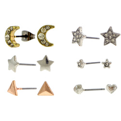 Rose Gold-Tone And Silver-Tone Multiple Stud Earrings Set AEME2