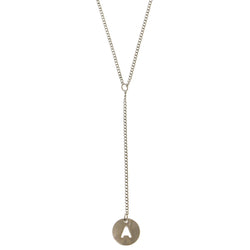 Initial A Adjustable Length Y-Necklace Silver-Tone Color  #4162
