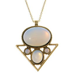 AB Finish Pendant-Necklace With Cabochon Accents White & Gold-Tone Colored #4168