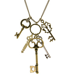 Keys Heart Adjustable Length Pendant-Necklace With Crystal Accents Gold-Tone & Silver-Tone Colored #3287