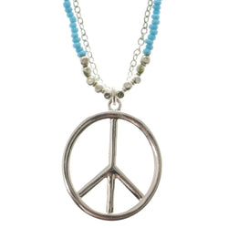 Peace Adjustable Length Pendant-Necklace With Bead Accents Blue & Silver-Tone Colored #3307