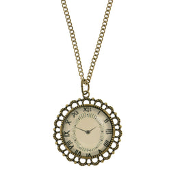 Clock Adjustable Length Pendant-Necklace Colorful & Gold-Tone Colored #3284