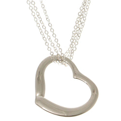 Heart Adjustable Length Pendant-Necklace Silver-Tone Color  #3286