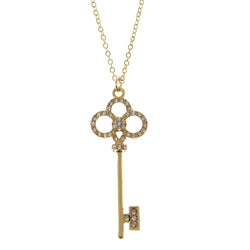 Key Adjustable Length Pendant-Necklace  With Crystal Accents Gold-Tone Color #3288